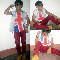 Pao Mandac - Ray Ban Wayferer, Oxygen Denim Vest, Forever 21 Britain Tank, Topman Red Skinny Jeans, Vienti Short Cut Worker Shoes, Sm Dept. Store Accesories - I BLEED RED AND BLUE.