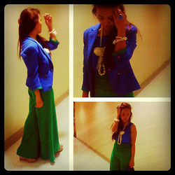 MIMI MAGNAIT - Zara Blue Blazer, Topshop Blue Satin Top, Forever 21 Floral And Pearl Accessories, Green Full Lenght Pants - 118: Not because I'm SMALL