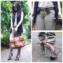 Michelle Koesnadi - Zara Vest, Mulberry Bag, All Saints Shoes, Miu Belt - CAMOUFLAGE