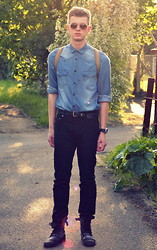 Rob Evans - Next Watch, H&M Sunglasses, Vintage Shirt, Vintage Belt, H&M Trousers, River Island Boots - We Are Young