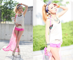 Marijera マリジェラ - H&M Tops, H&M Pants, H&M Neckless, Rebecca Minkoff Bag, Giuseppe Zanotti Design Shoes - PINK,PINK,PINK