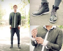 Seph Cham - Francis Libiran For Myth Mens Button Down, Chemistry Harem Pants, Call It Spring Boots - Manning up