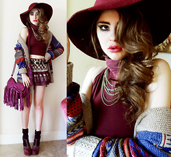 Bebe Zeva - Forever 21 Burgundy Floppy Hat, American Apparel Cropped Turtleneck, Nine West Burgundy Platform Wedges, Etro Fringe Bag - PLUM UNIFORM