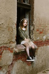 Julie Marie Wlazło - Primark Garland, H&M Sweater, Sh Dress, H&M Stockings, Converse Shoes - MY MISTAKES WERE MADE FOR YOU