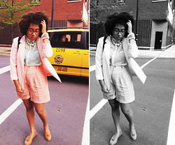 Bianca X - American Apparel Linen Shorts, Urban Outfitters Platforms, Vintage Blazer - Taxi cabs