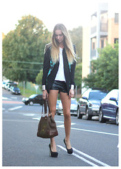 Stephanie Kramer - Dion Lee Blazer, Dkny Bag, Betts Heels, Lola Vs. Harper Pleather Shorts - Slow dancing