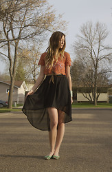 Julie C - Chiffon Skirt, Lace Top, Urban Outfitters Flats - Keep My Secrets Hope to Die