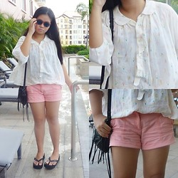 Nina Santos - Mango Bag, Reef Sandals, H&M Shorts, Forever 21 Sunnies - Pinkish white