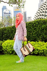 Dalillah Ismail - Grandma's Vintage Bag, New Look Brogues With Tassels, Accessorize Coral Pink Scarf, River Island Lace Blazer, New Look Floral Blouse, Topshop Spot Ankle Grazer Trousers - Patterns frenzy