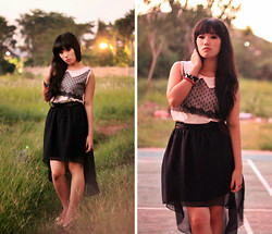 Fifi Yau - Vintage Lacey Tanktop, Cloth Inc Black Assymetric Skirt - Sunset Glow