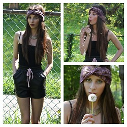 Maleah Sparks - Aritzia Black Tank, Wilfred Pleather Shorts, Vintage Palm Print Headband, Vintage Fish Choker - Caged In