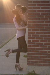 Giselle G - Vintage Floppy Hat, Crash & Burn Top, Oasap Leggings, Forever 21 Mary Janes, Oasap Ring - Beautiful Afternoon
