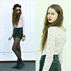 Elina I - H&M Hat, Vintage Lace Top, H&M Leather Shorts - Leather&Lace