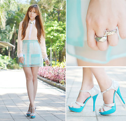 Camille Co - Pinkaholic Top And Skirt, Sugarfree Heels, Style Rocks Customized Ring, Vantan Manila Skirt - Crisp