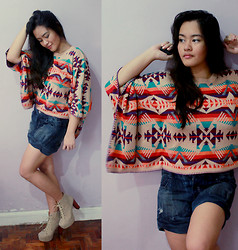 Cerisse Salvador - Sheinside Aztec Sweater, Bershka Denim Shorts, Jc Inspired Litas - Electric Twist