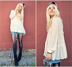 Hannah Riley - Pinkyotto Blouse, The London Jean Cutoffs, American Apparel Headband, Thrifted Boots - New Beginnings