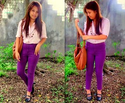 Star Agus - Christina Jeans High Waisted Coloured Pants, Sm Blouse, Vintage Shoes - Purple