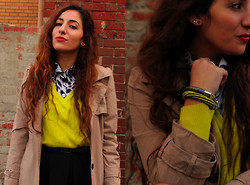 Yeliz S - Second Hand Shirt, Istanbul Market Neon Jumper, Asos Coil Rope Bracelet - Inspector trench