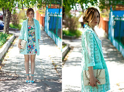 Katerina Revenko - Zara Dress - Blue, lace and floral print.