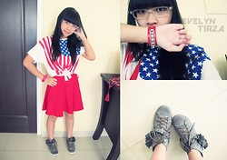 Evelyn Tirza - Unbranded Usa Top, Chloé Hot Red Bracelet, Gosh Grey Sneakers, Gowigasa Hot Red Skirt - Cheer!