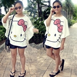 Nina Santos - Sanrio Hello Kitty Top, Forever 21 Sunnies, H&M Shorts, Mango Bag - Hello kitty