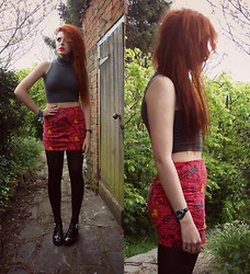 Saskia I - Asos Turtle Neck Crop Top, Asos Skirt, Jelly Shoes - Let on by love and crushed by love
