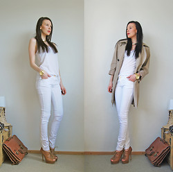 Eve T - Esprit Trench - White, Gold and Camel
