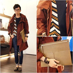 Curtis Yu - Zara Jeans, Burberry Top, Burberry Coat, Burberry Clutch, Fendi Bracelet, Tod's Shoes - The Day Visit BURBERRY Showroom