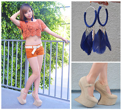 Shar Regis - Forever 21 Feather Earrings, Go Jane No Heel Shoes, Go Jane Crochet Cropped Top, Mossimo Shorts - Earth Color Palette