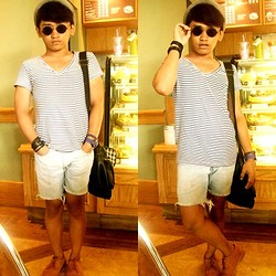 Pao Mandac - Vienti Short Cut Mustard Worker Shoes, Forever 21 Fedora Hat, John Lennon Shades, Topman Stripes V Neck Shirt, Sm Dept. Store Accesories, Swatch Blue Watch, Levi's® D.I.Y Slim Fit Denim Shorts - BITTER101:My coffee just tastes better without you