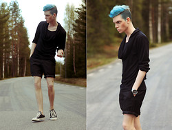 Robbie Jonsson - Youreyeslie Long Sleeve Tee, Cut Off Dress Pants Shorts, Converse - Little Boy Blue | Youreyeslie