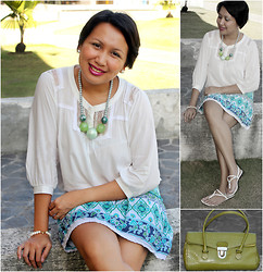 Ms. Chique - Illinois Leather Yellow Green Bag, Xhilaration Oriental Printed Skirt, Casade Strappy Sandals, Ffilm Cotton Lace Top, Bon Ace Shell Resin Necklace, Hongkong Pearl Earings & Bracelet - One Fine Oriental Day