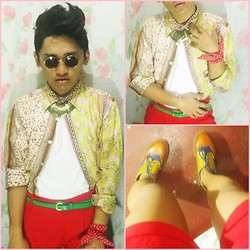 Pao Mandac - Gh Polka Dot Bandanna, Xing Zhi Wu Brouges, Sepia Lennon Shades, Isotopes Gold Plate, Topshop Gypsy Polo, Zara Roundneck White Shirt, Love Red Shorts - A Very Gypsy Manic Monday