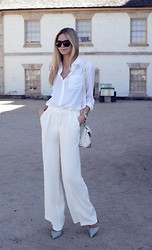 Jessica Stein - Zara Wide Leg Pants, Equipment White Shirt, Alexander Wang Marion Bag - White on White