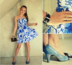 Regine N.K - H&M Flower Dress, Bianco Shoes, Gina Tricot Diana Clutch - Blue flower dress