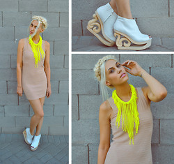 Rae Shoemaker - H&M Neon Necklace, Forever 21 Nude Dress, Jeffrey Campbell Skate Shoes - Neon & Nude