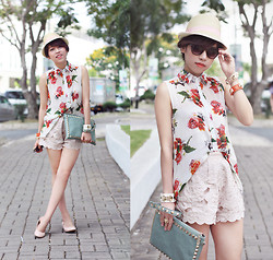 Linda Tran N - Singapore Rose Print Shirt, H&M Lace Shorts - These are the days of wine and roses