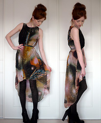 Hannah Louise - Romwe Galaxy Print Asymmetric Dress, Topshop Glitter Tights - Miss Universe...
