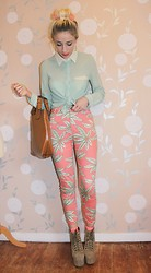 Lucy Rance - Motel Palm Print Jeans, Romwe Mint Shirt, Ebay Tan Shopper, Jeffrey Campbell Lita - Palm Print
