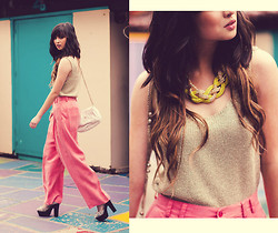 Chesley Tolentino - Thrifted Top, Thrifted Pants, Jellypop Heels - Pink & Gold