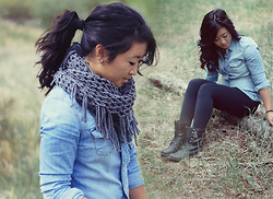 Christie Ashley - Urban Outfitters Scarf, Topshop Denim Shirt, Lululemon Leggings, American Rag Laceup Boots - DENIM