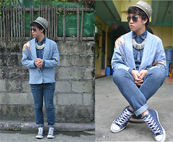 Shane Chua - Ray Ban Sunnies, Diy Cardigan, H&M Denim Buttondown, Dit Pined Necklace - In the 80's