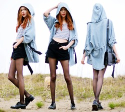 Ebba Zingmark - Jacket, Top, From A Secondhand Shop Shorts, From A Secondhand Shop Shoes, Bag - Shoreline