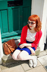 Kerry Lockwood - H&M Small Brown Round Glasses, H&M Polka Peplum Top, Topshop Electric Blue Pencil Skirt, Ebay Leather Satchel, Ebay Red Cardigan - Red, White & Blue - What Does It Mean To You?