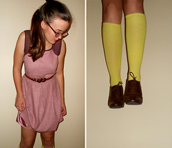 Shannon E - Modcloth Dress, American Apparel Knee High Socks - Last days
