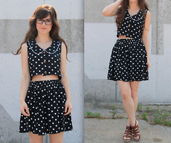 Lauren Winter - Upcycled Co Ord Polka Dot Play Set, Madewell Sunset Leather Sandals - Handmade polka dot playsuit