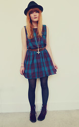 Leigh Travers - Vintage Bowler, Vintage Dress, Rock N Rose Kora Inverted Cross Necklace, Doc Marten's Velvet - TARTAN DRESS