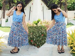 Nina Santos - Armani Exchange Printed Maxi Skirt, Denim Dress (Used As Top), Sunnies - Denim on Prints