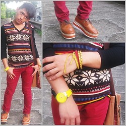 Pao Mandac - Markus Aztec Long Sleeves, Sm Dept. Store Brown Leather Bag, Coolcat Red Skinny Jeans, Jydn Collection Brouges, Sm Dept. Store Bracelets, Swatch Yellow Watch - BLANKTHOUGHTS&FLYINGCOLORS.