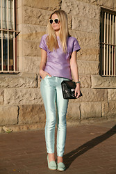 Jessica Stein - Ellery Mint Pants, Karen Walker Numbe One Sunglasses, Asos Loafers - Lavender